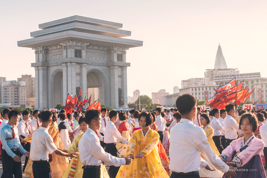 Arch of Triumph in Pyongyang North Korea with dancers