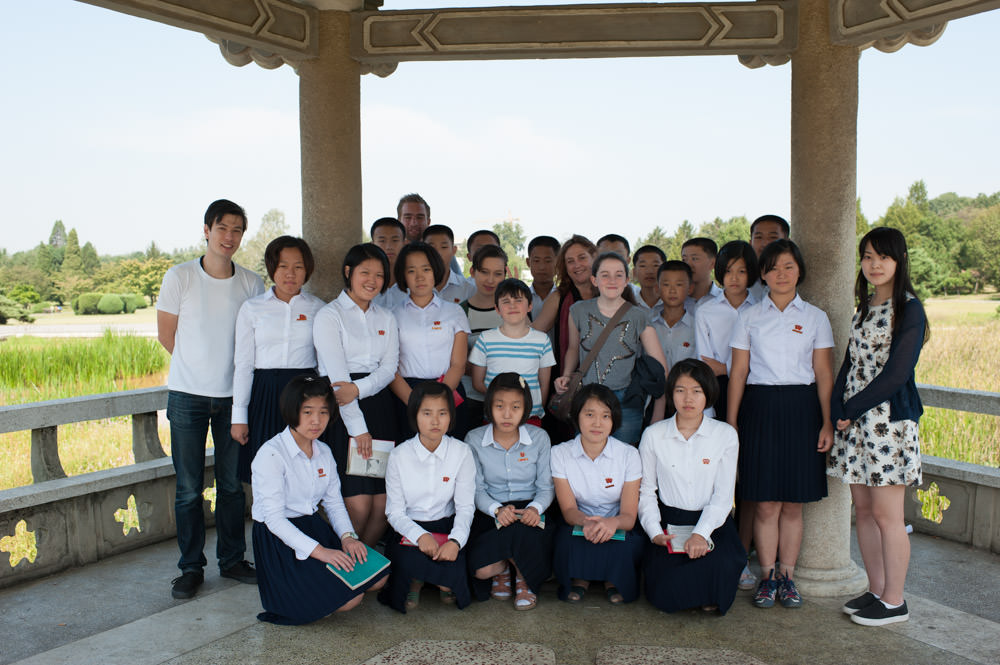 Pyongyang Central Botanical Gardens tourists with students