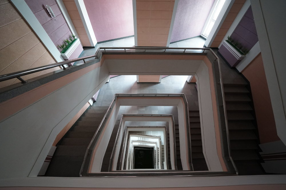 Kim Il Sung University Foreign Student Dormitory Central Stairwell 01